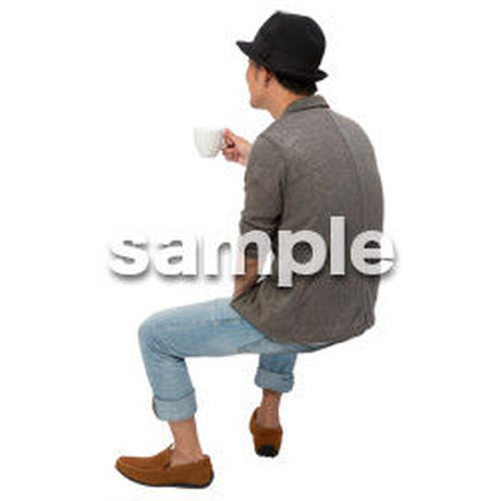 Cutout People 座る 男性 LL_330