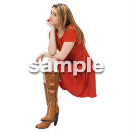 Cutout People 外国人-女性-座る BB_487