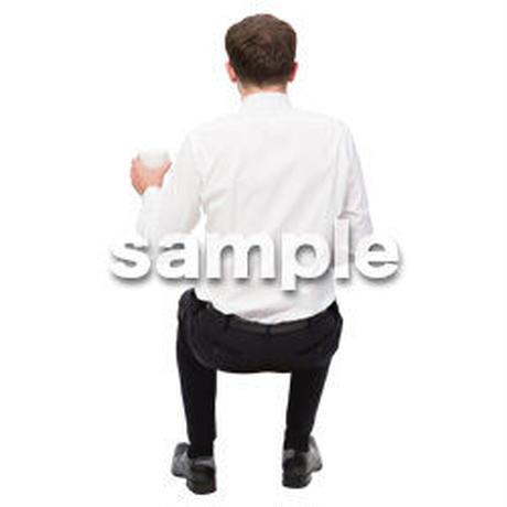 Cutout People 座る 外国人男性 LL_570