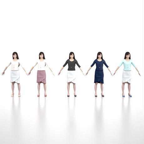 3D人モデルAポーズ 076_Yui