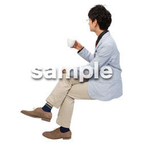 Cutout People 座る 男性 LL_278