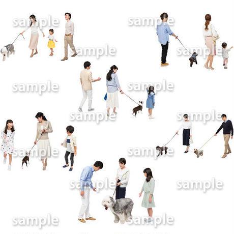 人物切抜きセット☆アットホーム 犬の散歩 1_set148