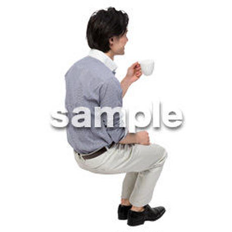 Cutout People 座る 男性 LL_264