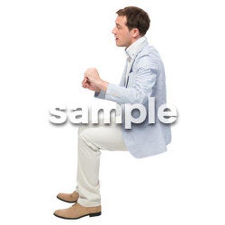 Cutout People 座る 外国人男性 LL_588