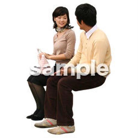 人物切抜き素材 座る人編 H_092