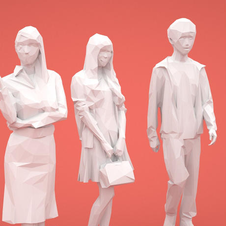 LOWポリゴン-3D人物10体セット  [Posed]  004