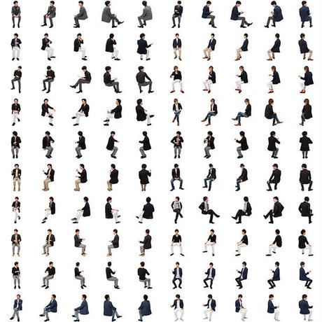 12Cutout People 座る男性[ダウンロード版]