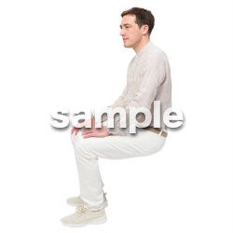 Cutout People 座る 外国人男性 LL_593