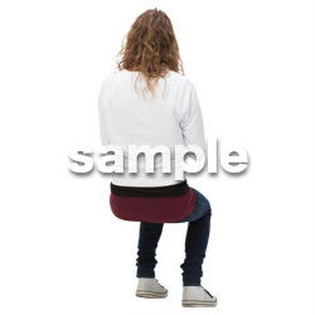Cutout People 外国人-女性-座る BB_480