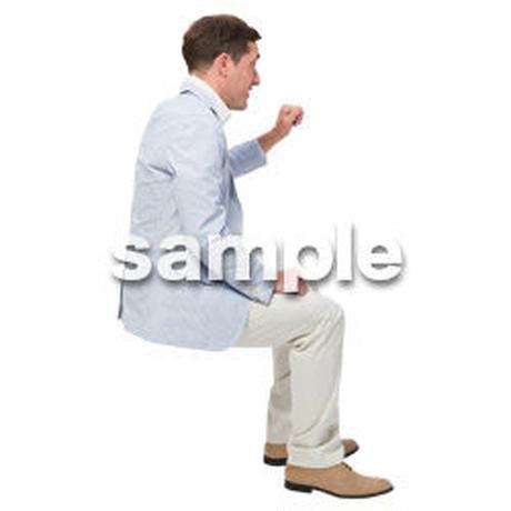 Cutout People 座る 外国人男性 LL_589