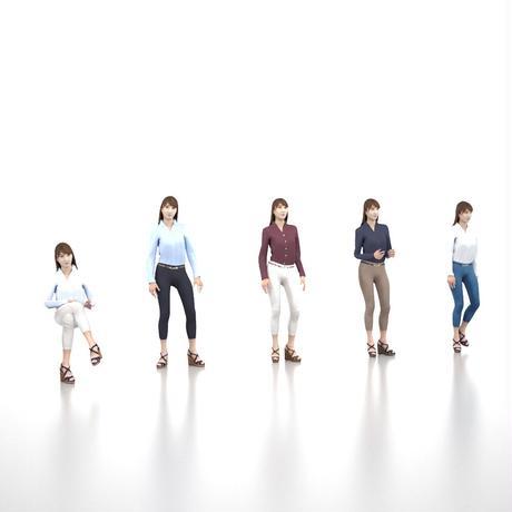 3D人モデルAポーズ 010_Rika