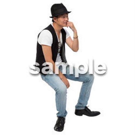 Cutout People 座る 男性 LL_477