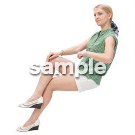Cutout People 外国人-女性-座る BB_483