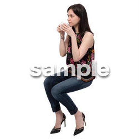Cutout People 座る 外国人 KK_597