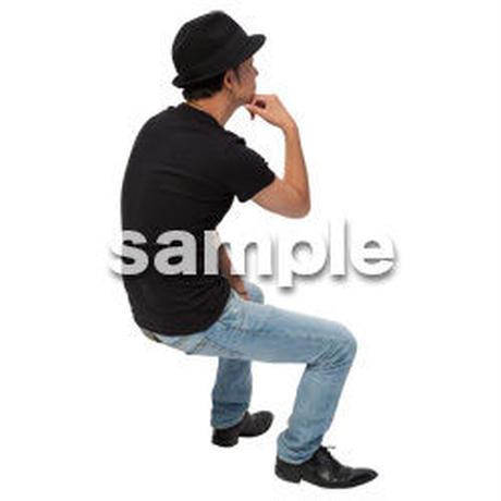 Cutout People 座る 男性 LL_485