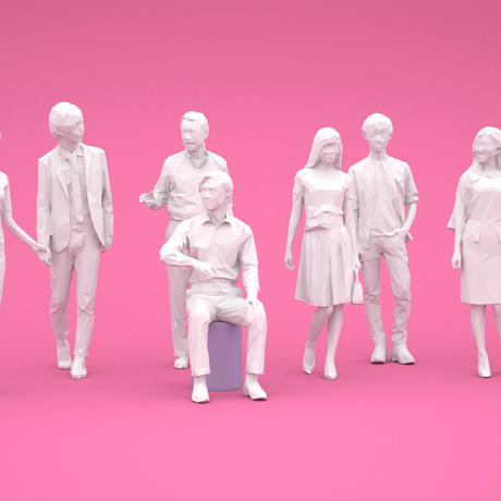LOWポリゴン-3D人物10体セット  [Posed]  001