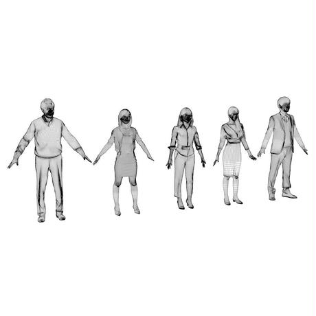 3D人モデルAポーズ5体セット 004_Apose-set