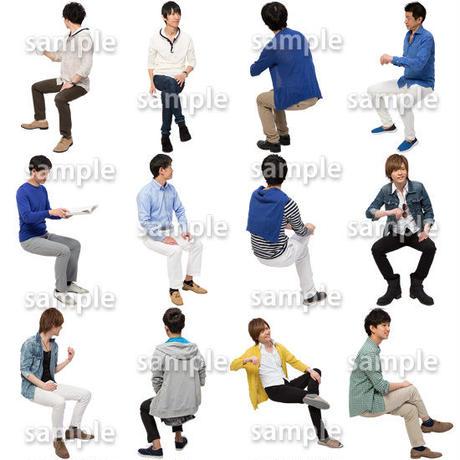人物切抜きセット☆座る男性 1_set180