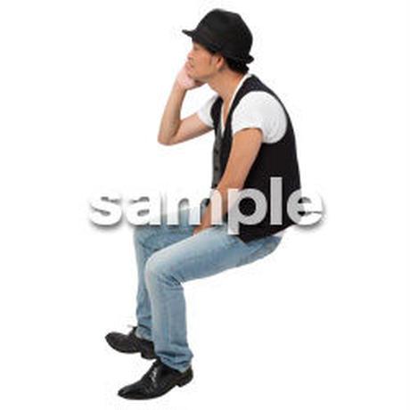 Cutout People 座る 男性 LL_478