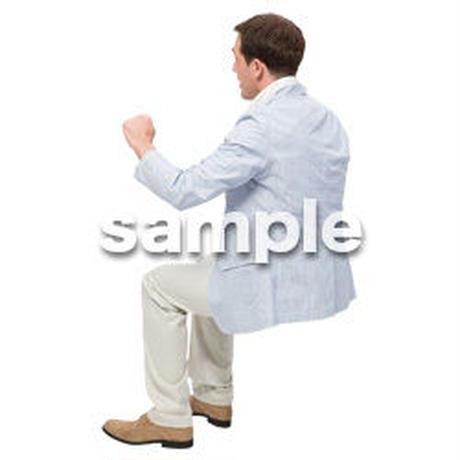 Cutout People 座る 外国人男性 LL_590