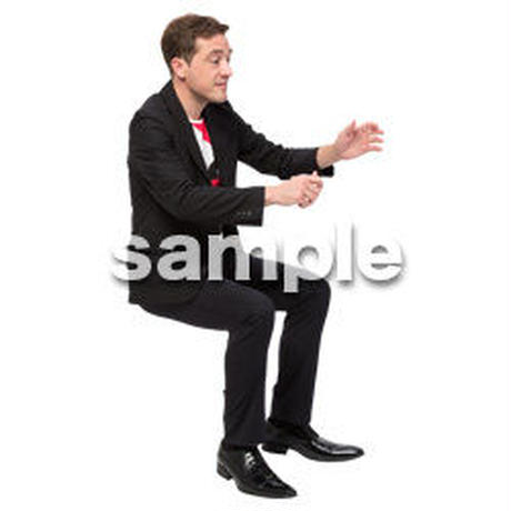 Cutout People 座る 外国人男性 LL_573
