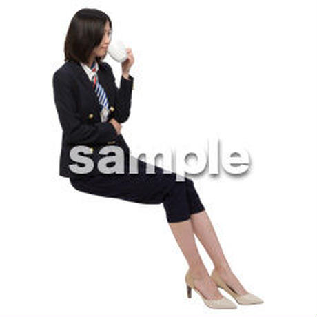 Cutout People 座る女性 KK_008