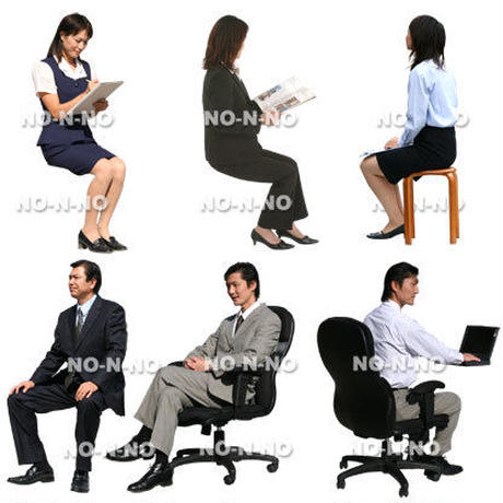 人物切抜きセット☆座る・ビジネス 8set017