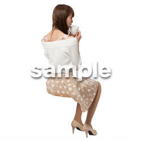 Cutout People 座る女性 KK_209