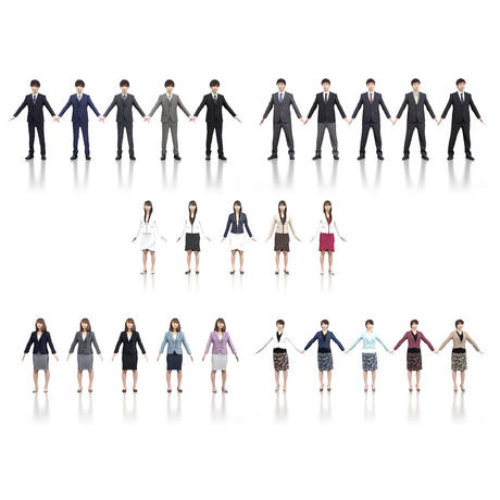 3D人モデルAポーズ5体セット 001_Apose-set