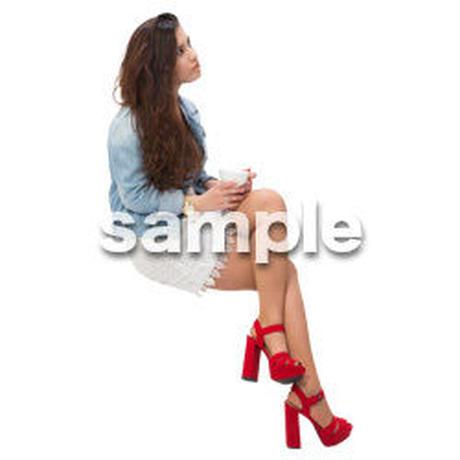 Cutout People 外国人-女性-座る BB_468