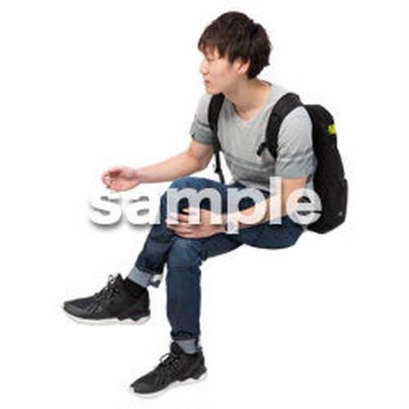 Cutout People 座る 男性 LL_487