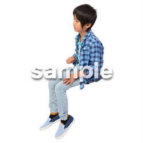 Cutout People 座る 男の子 LL_533