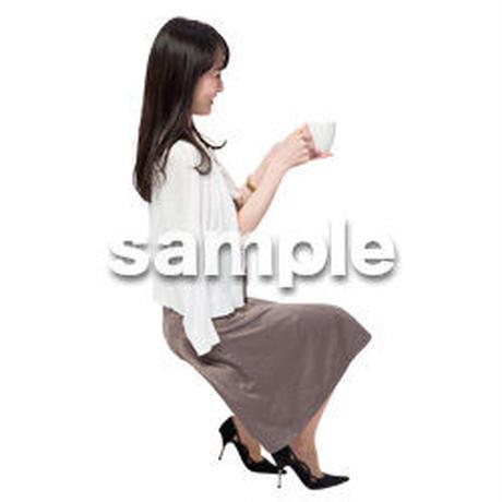 Cutout People 座る女性 KK_223