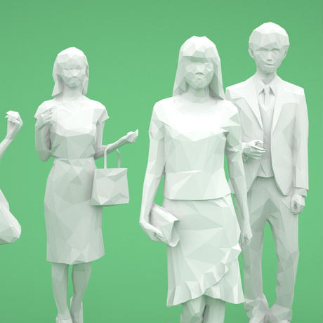 LOWポリゴン-3D人物10体セット  [Posed]  003