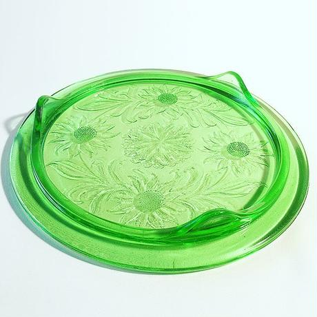 1930's Vintage Jeannette  Green Glass Sunflower Cake Plate