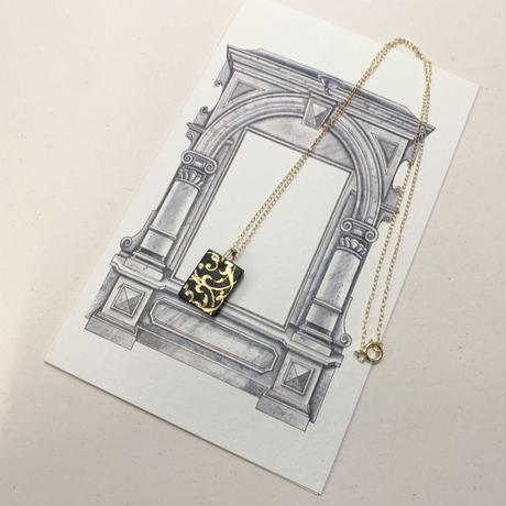 22K Gold刻印レザーネックレス〈四角形:リバーシブル〉