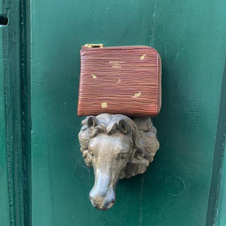 【1点もの】22k Gold MINI WALLET /Vintage leather & leaf