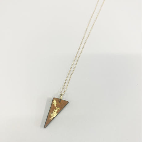 22K Gold刻印レザーネックレス〈三角形:リバーシブル〉