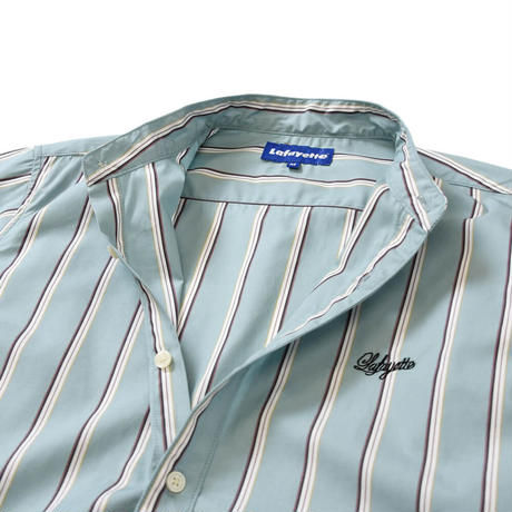 LAFAYETTE ALTERNATE STRIPE BAND COLLAR SHIRT-LIGHT BLUE