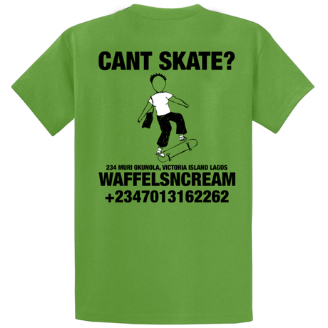 WAFFLESNCREAM CANT SKATE TEE KIWI