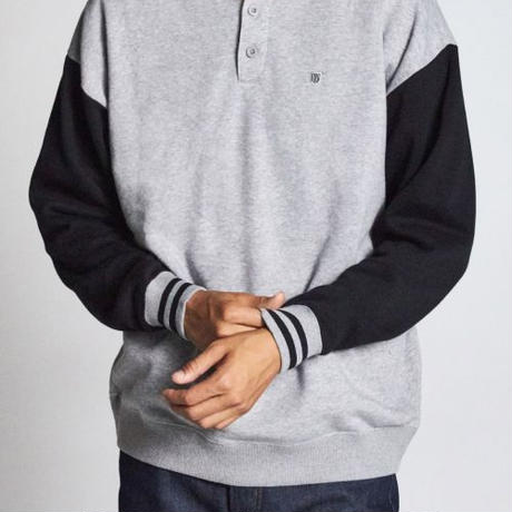 BRIXTON B-SHIED HENLEYCREW FLEECE-H,GREY/BLACK