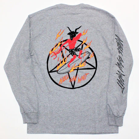 SURF IS DEAD X JUNGLES HELL CANWAIT L/S TEE  GREY