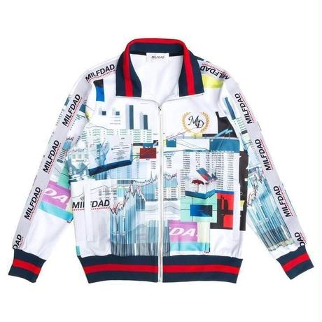 MILFDAD TRACK JACKET-SPREADSHEET/WHITE
