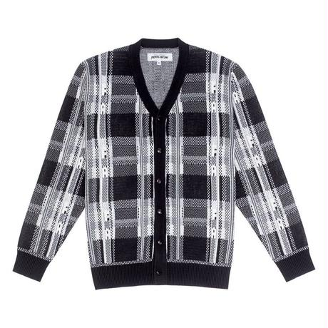 FUCKING AWESOME FREAK PLAID KNIT CARDIGAN- BLACK