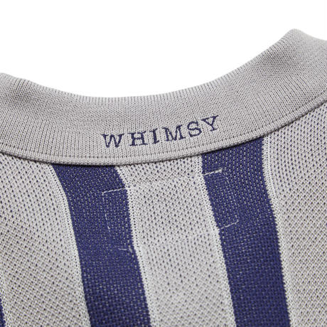 WHIMSY STRIPED KNIT POLO-GREY