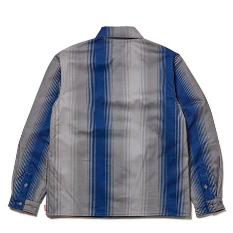 HELLRAZOR STRIPE FLANNEL SHIRT JACKET-BLUE
