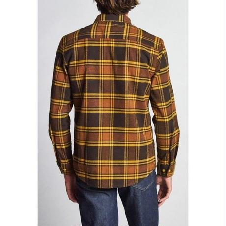 BRIXTON BOWERY L/S FLANNEL-BROWN/GOLD