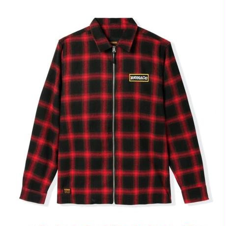 BUTTER GOODS MENACE ZIP THROUGH OVERSHIRT-RED