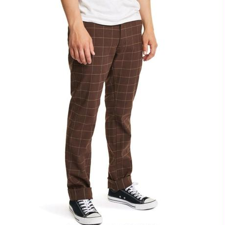 BRIXTON RESERVE CHINO PANT-BROWN PLAID