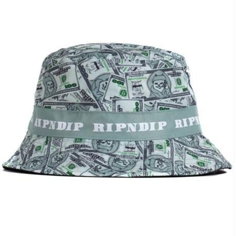 RIPNDIP MONEY BAG BUCKET HAT-GREEN/GRAY